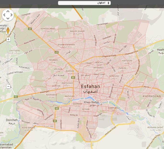 ارسال اس ام اس از روی نقشه اصفهان